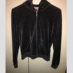 Juicy Couture Black Velvet Zip-Up Jacket